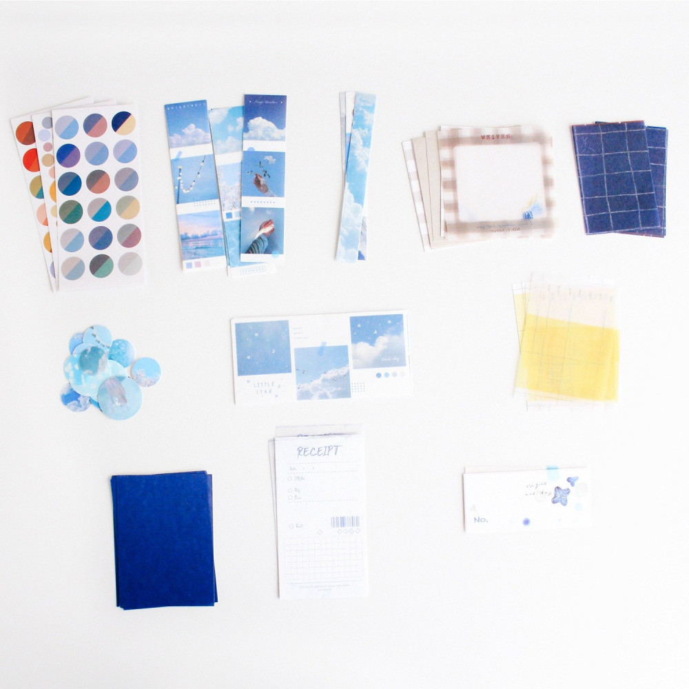 ستيكرات طريقة عمل الكولاج ستيكرات لابتوب ورق لون أزرق سماء بحر متجر