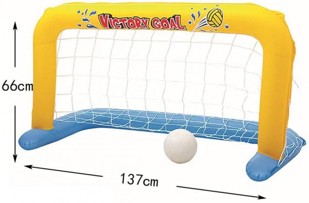 عارضة كرة قدم قابل للنفخ للعب في برك السباحة 137X64X71 سم ملون