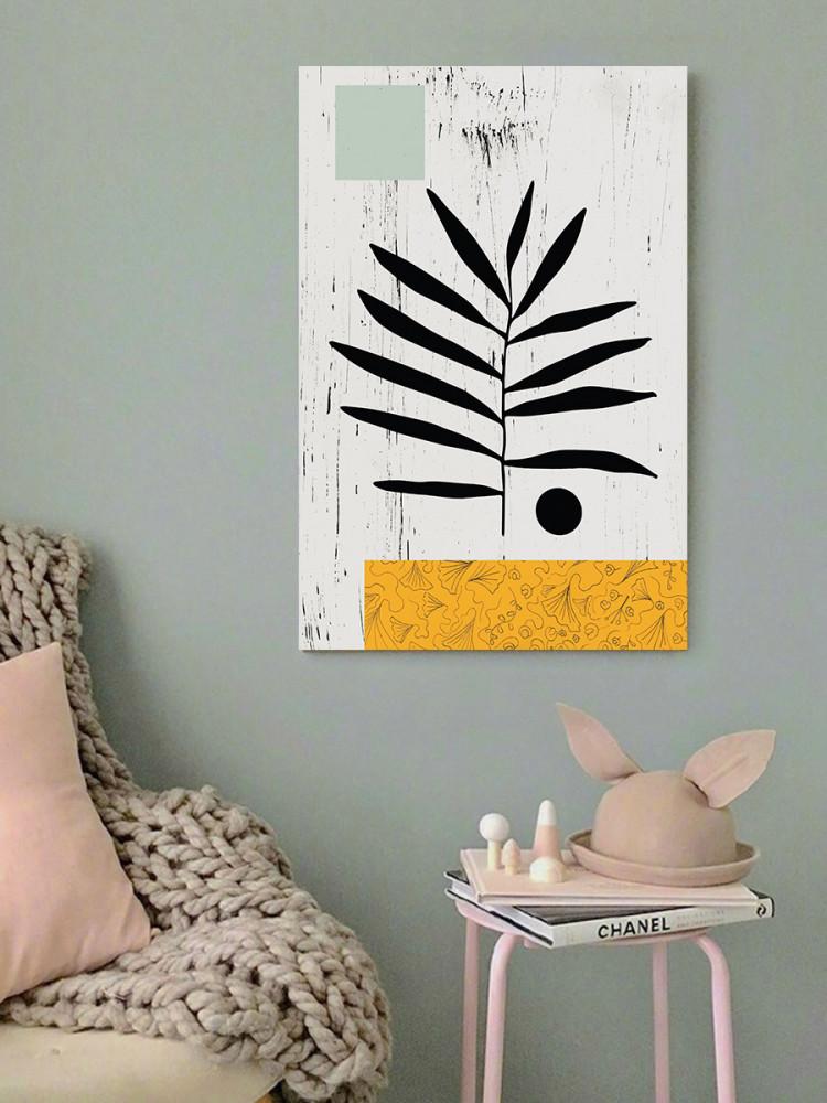 لوحة فن تجريدي ورق شجر خشب ام دي اف مقاس 40x60 سنتيمتر