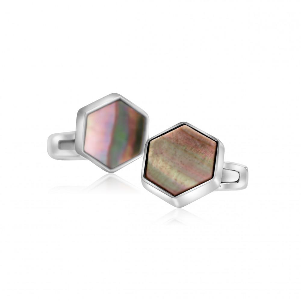 كبك من الفضة السويسرية والصدف الطبيعي بتصميم سداسي