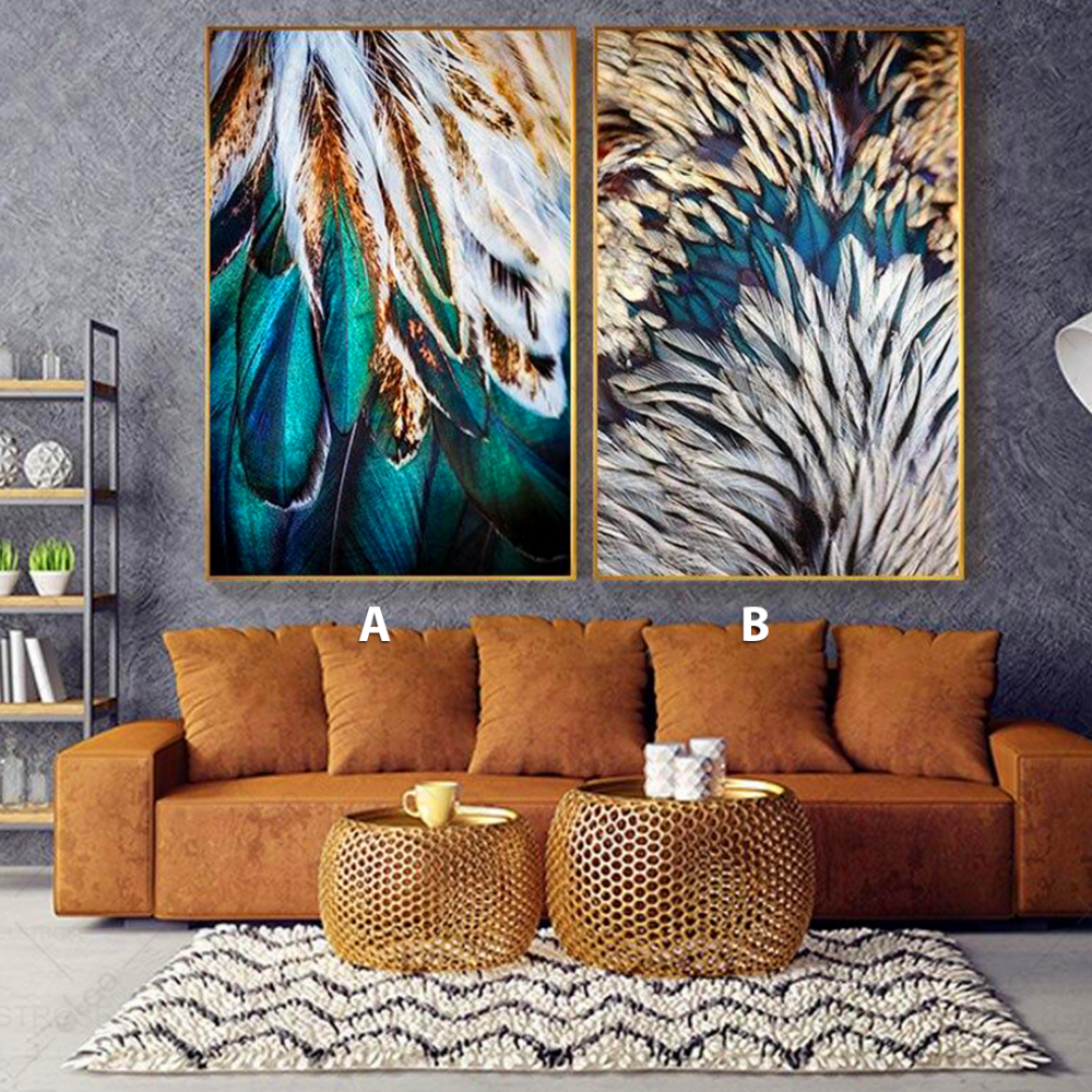 لوحات فنية لمنظر طبيعي لريش باللون الفيروزي والأبيض