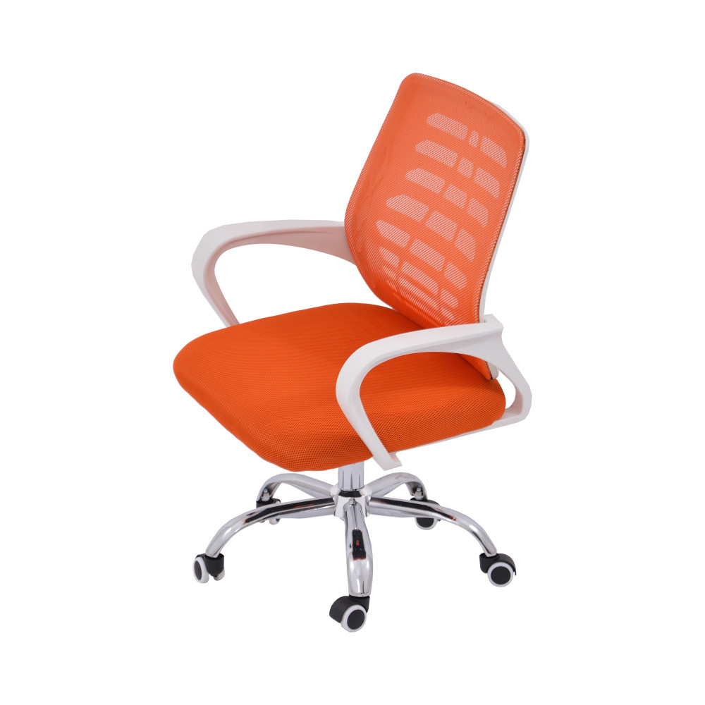 كرسي مكتب شبك متحرك برتقالي اللون قاعدة كروم من كاما BA306R ORANGE