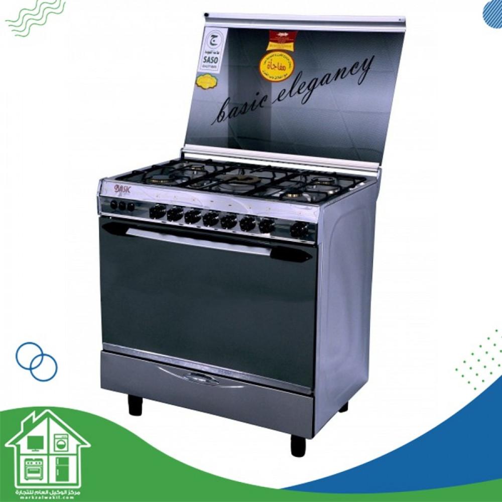 طباخ الغاز القائم بيسك - 5 شعلات - 60 x 90 سم - ستانليس ستيل  8905B