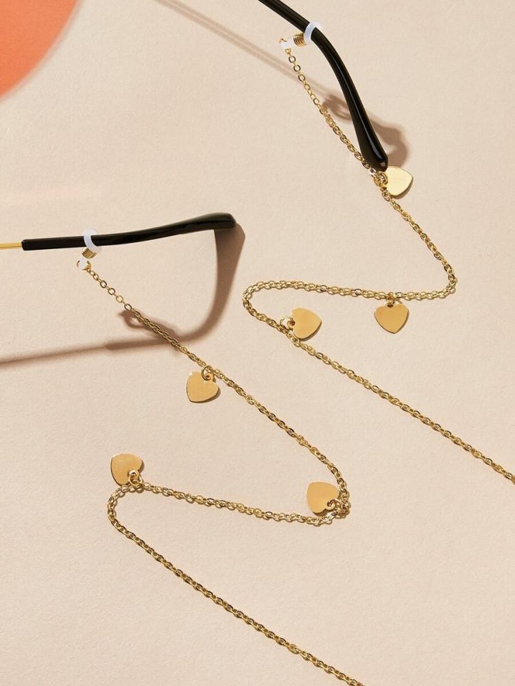 سلسال نظارات شمسية مطلي بلون ذهبي انيق مزين بقلوب صغيرة اكسسوارت نظارة