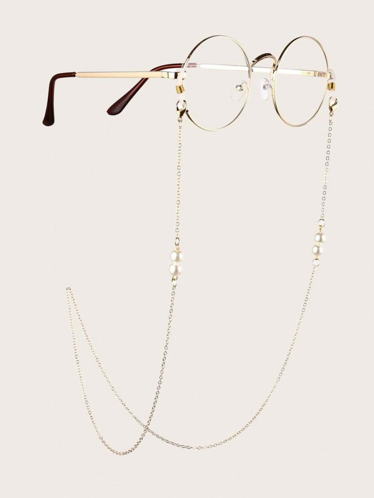 سلسال نظارات معدني مزين باللؤلؤ ذهبي عصري اكسسوارت نظارات احدث الصيحات