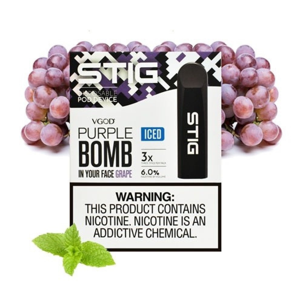 ستيج عنب بارد - VGOD Stig Purple Bomb iced Pack of 3 VGOD