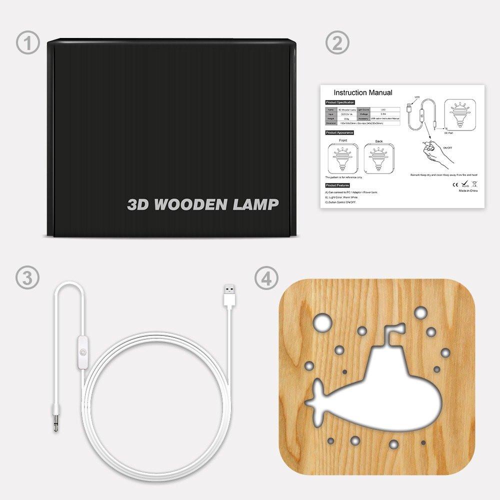 مواسم تحفة فنية خشبية شكل غواصة طريقة تركيب التحفة وتوصيل الإضاءة