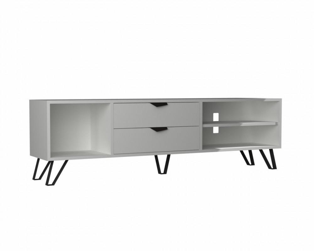 مواسم طاولة تلفاز بيضاء متعددة الاستخدام خشبية بأرجل من المعدن