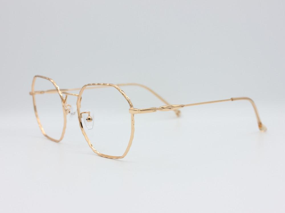 نظارة طبية من ماركة T سداسية مع عدسات بحماية لون الاطار ذهبي نسائية