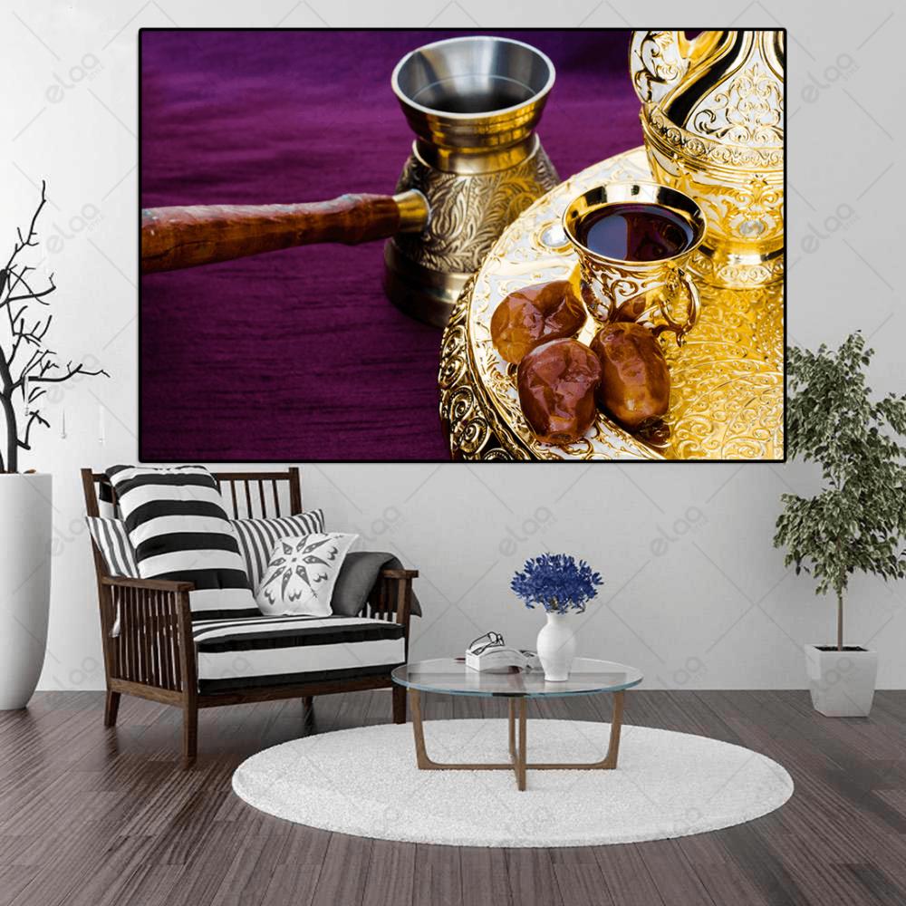 لوحة جدارية لقهوة والتمر