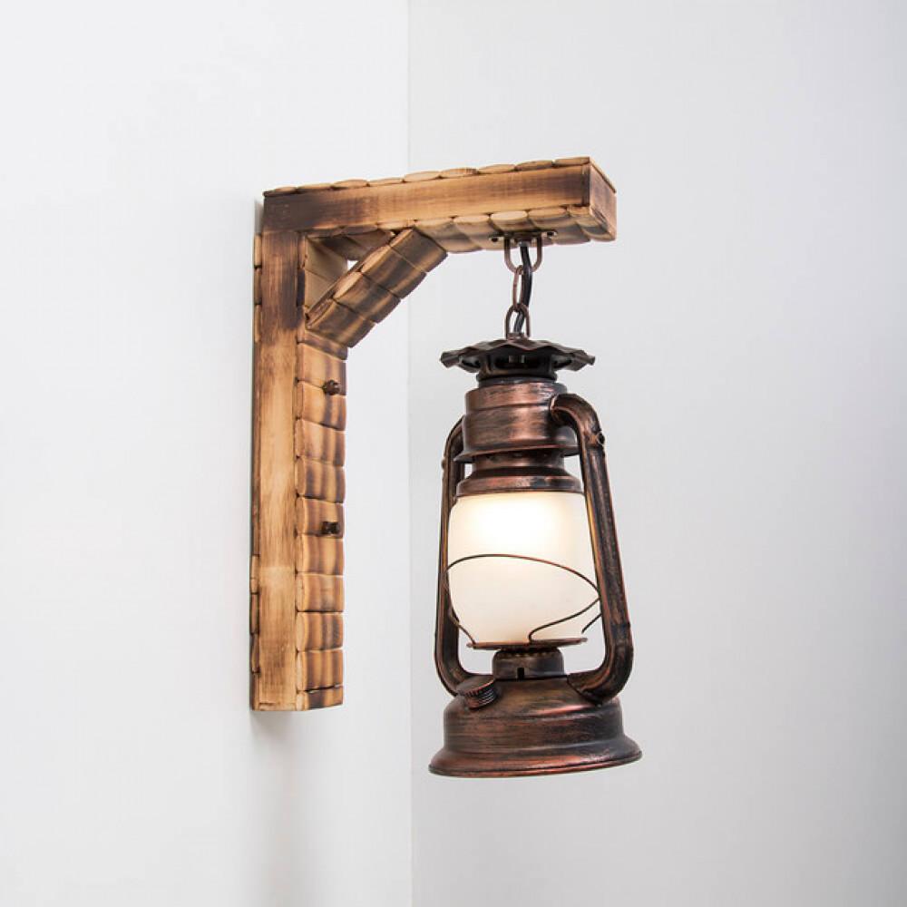 سراج إنارة مفرد بحامل خشبي تراثي - فانوس