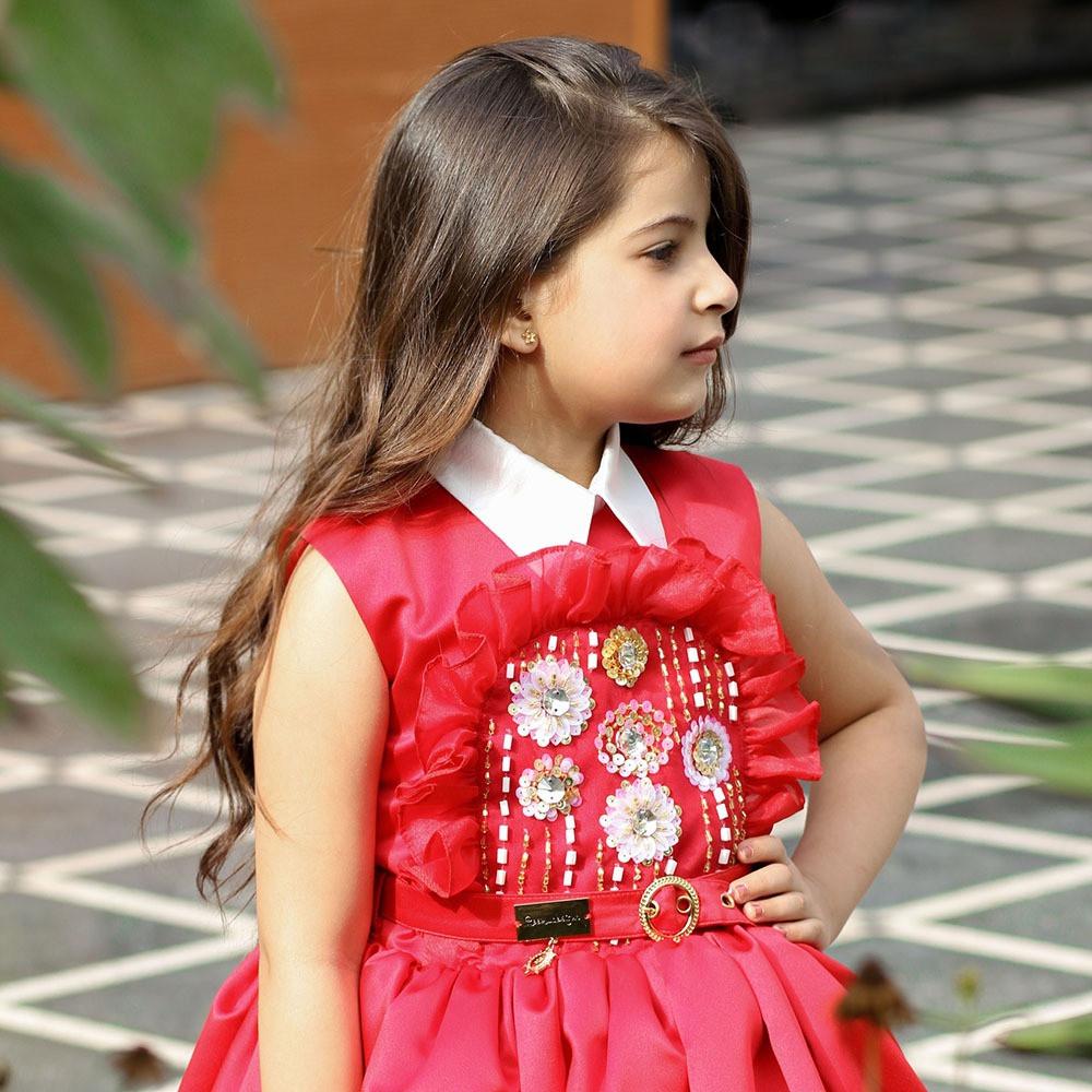 تسوقي اونلاين فساتين اطفال المصممة ريم العتيبي فستان باللون الاحمر