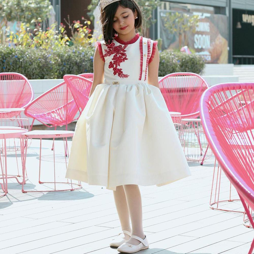جديد فستان بناتي بدون أكمام- فساتين أطفال صيفي للسهرات