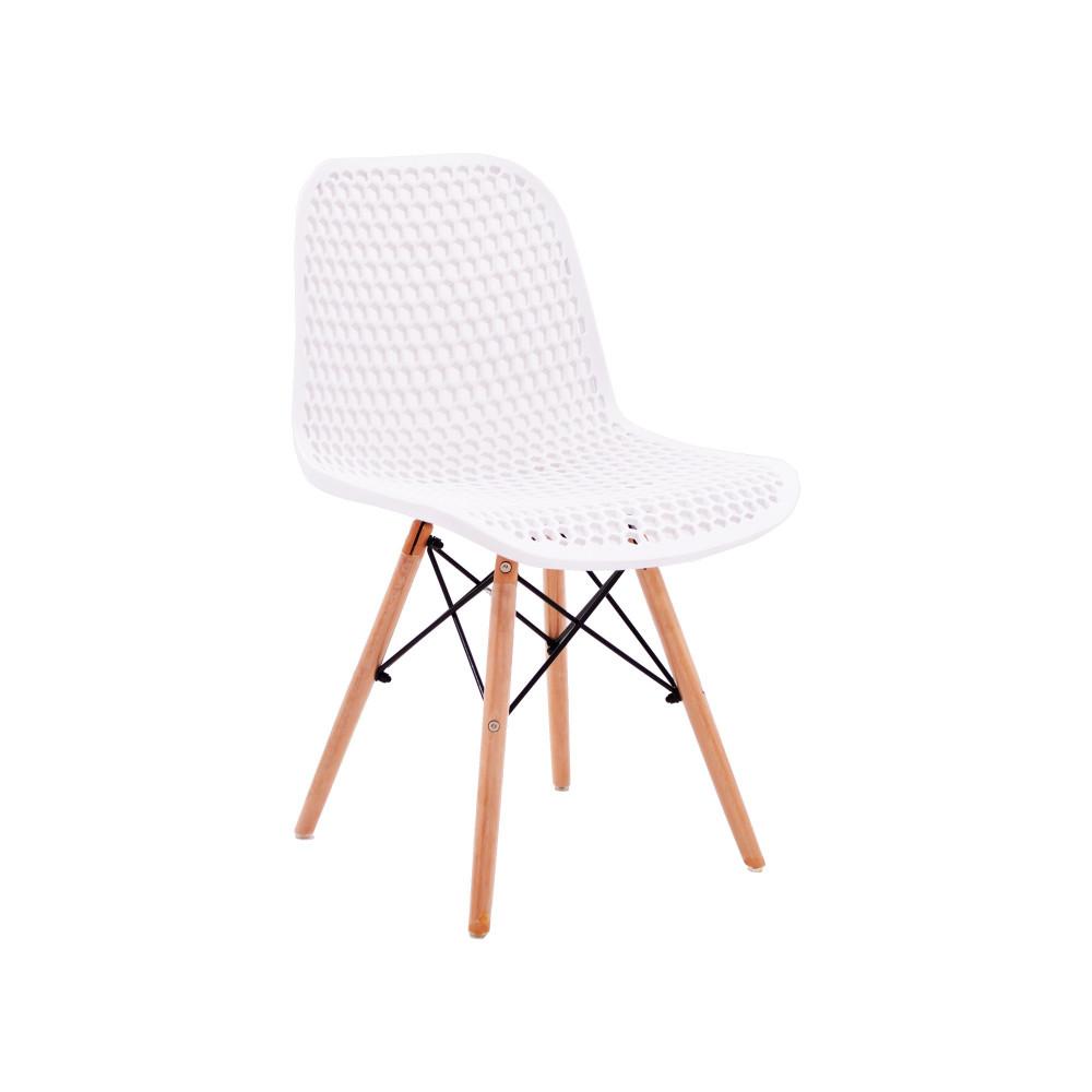 كرسي كاما فيبر ابيض مثقب ارجل خشب C-D-865 WHITE