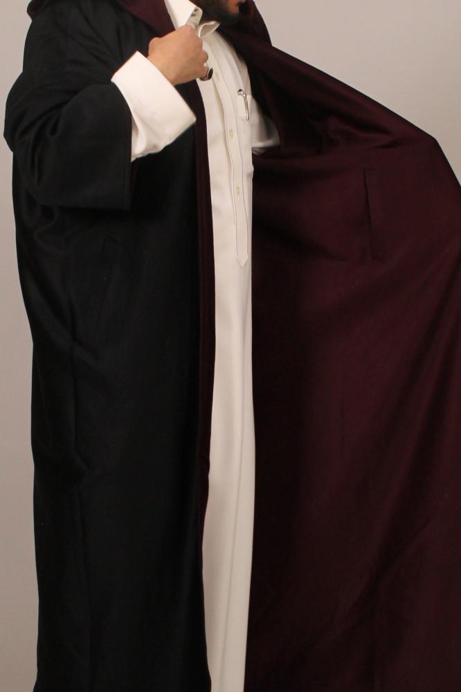فروة قماش كشميري حورانية قبوع اسود عنابي