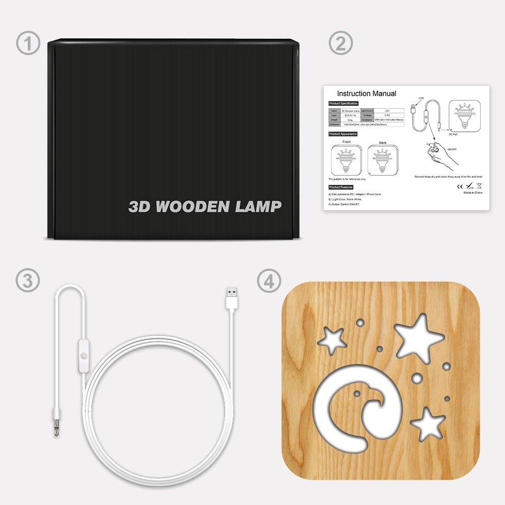 مواسم تحفة شكل النسر مضيئة خشبية طريقة التركيب وتوصيل الإضاءة