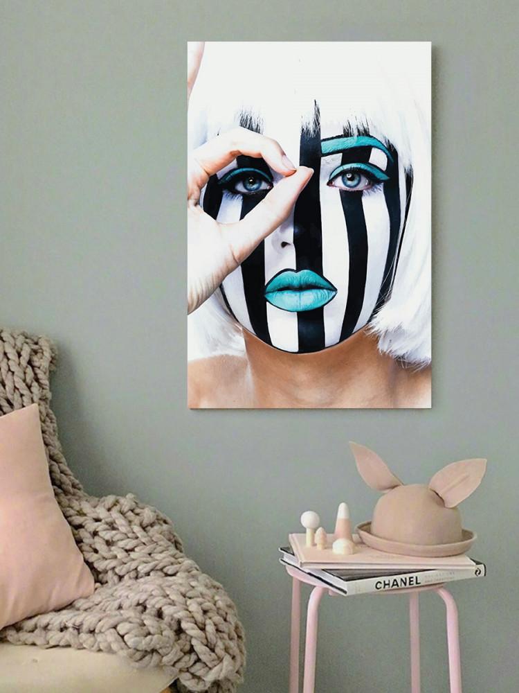 لوحة وجه مخطط أبيض و أسود خشب ام دي اف مقاس 40x60 سنتيمتر