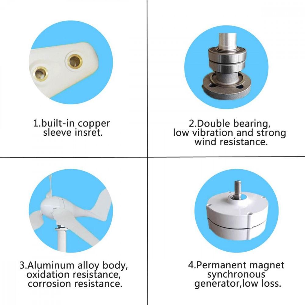 مولد طاقة كهربائية بواسطة الرياح بقوة 4500 واط 12 فولت 3 خطوط فاز