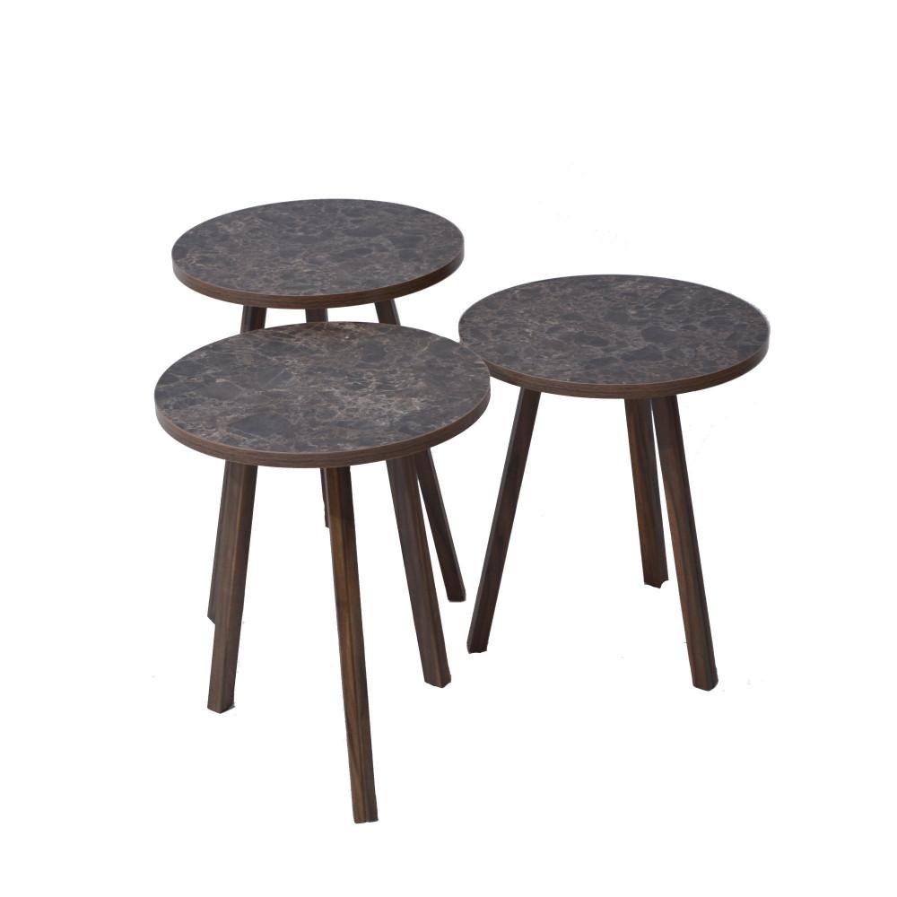 طقم طاولات شاي ثلاثي بني C-EY-04