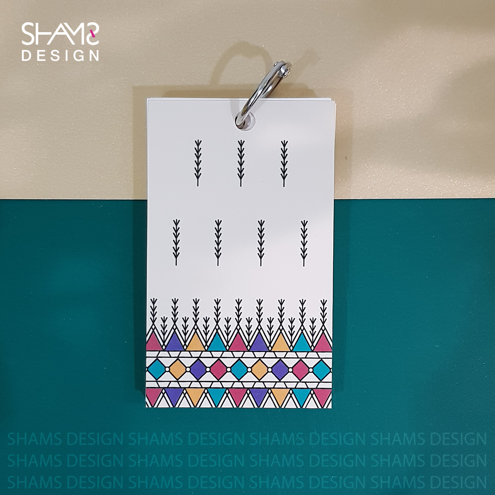 ورق ملاحظات بتصميم سعودي نقشة القط العسيري ثقافات السعودية منتجات