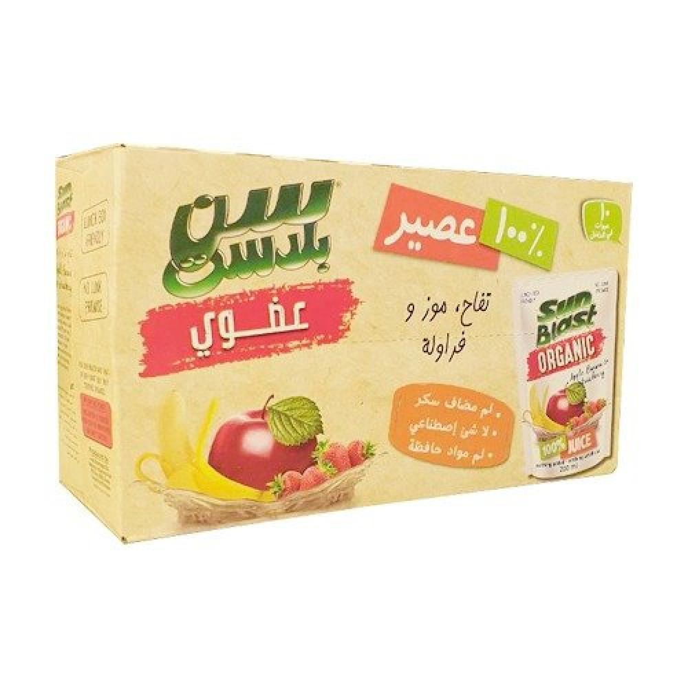 سن بلاست عصير تفاح وموز وفراولة عضوي
