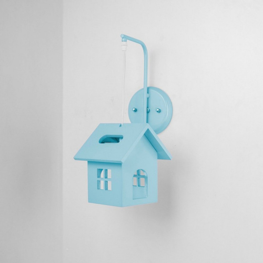 اضاءة غرف نوم اطفال اولاد شكل بيت ازرق - فانوس