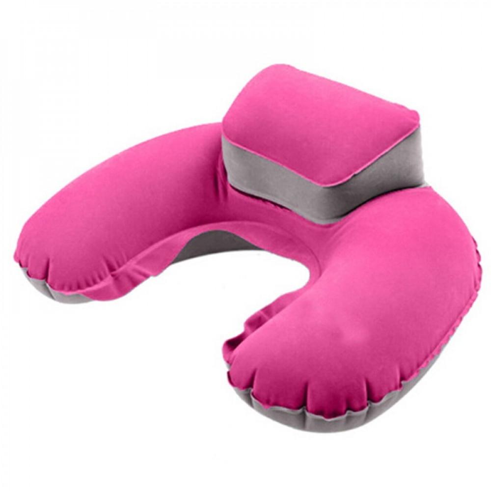 وسادة رقبة على شكل U محمولة مريحة للسفر مصنوعة من مادة PVC لون وردي