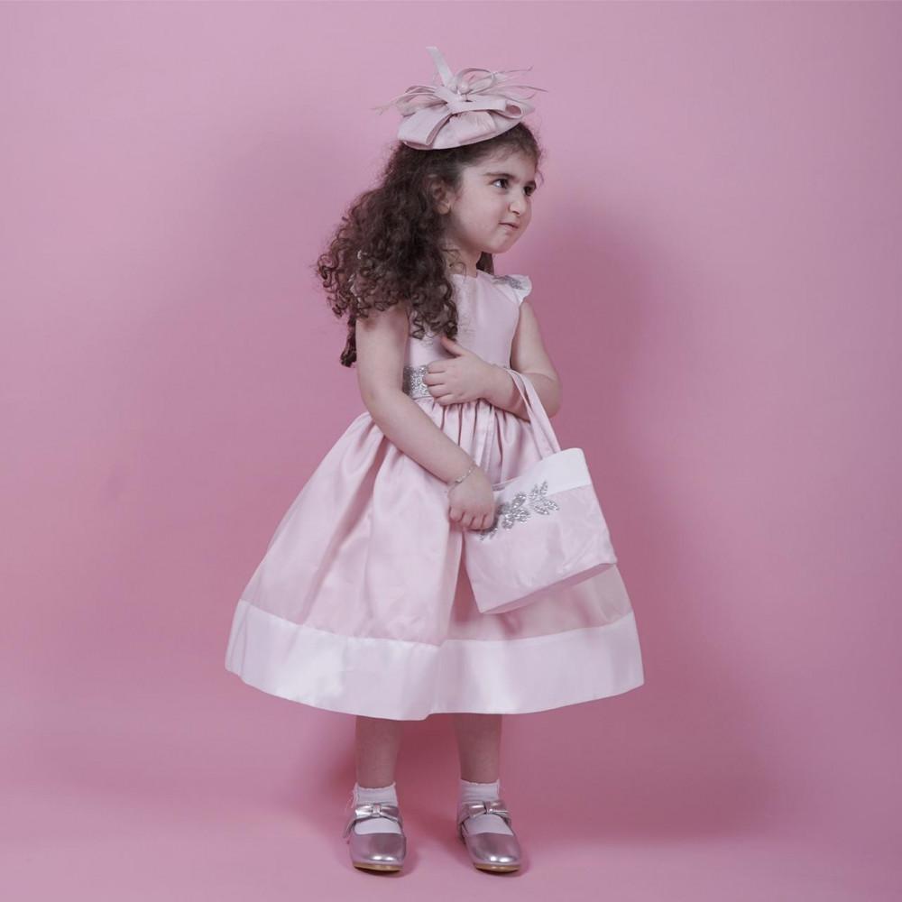 فستان اطفال لون بنك وابيض