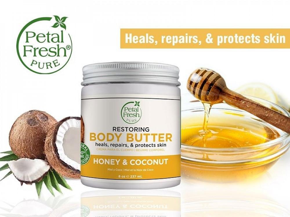 زبدة ترطيب الجسم بعد الاستحمام لتجديد نعومة ونظارة البشرة بالعسل وجوز