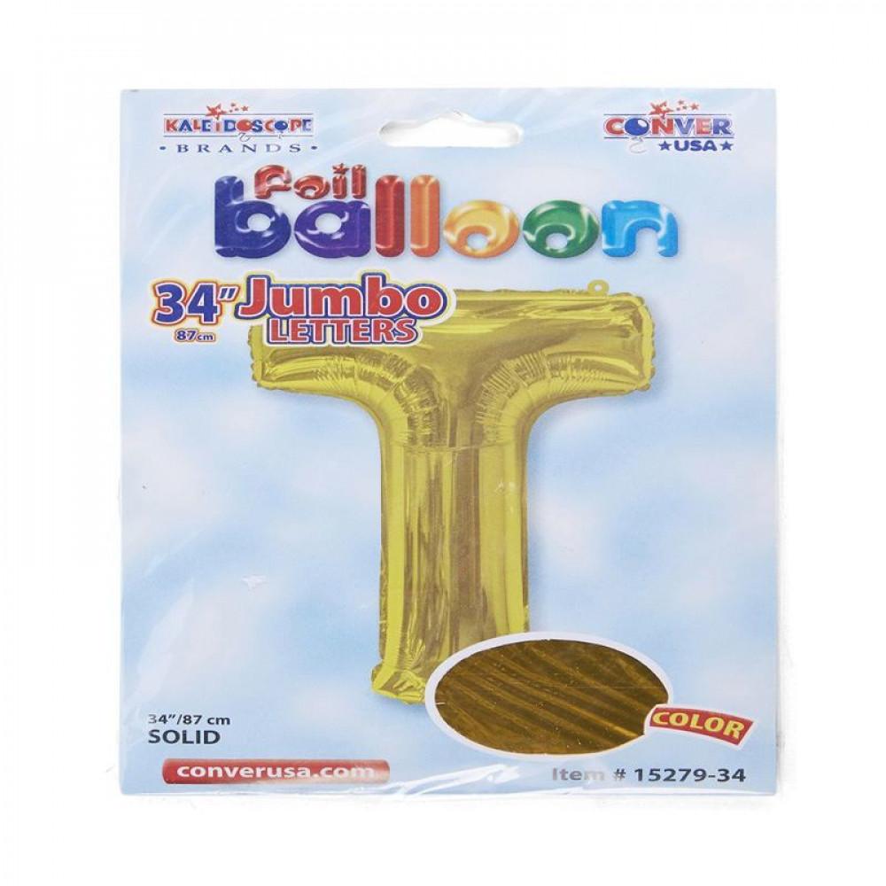 بالون ذهبي, بالون حرف T, بلونات أحرف, Golden Balloon