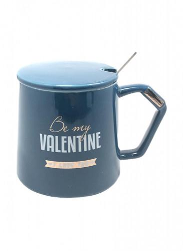 كوب سيراميك للقهوة و الشاي مع ملعقة  و غطاء أزرق 13 × 10 × 10 سنتيمتر