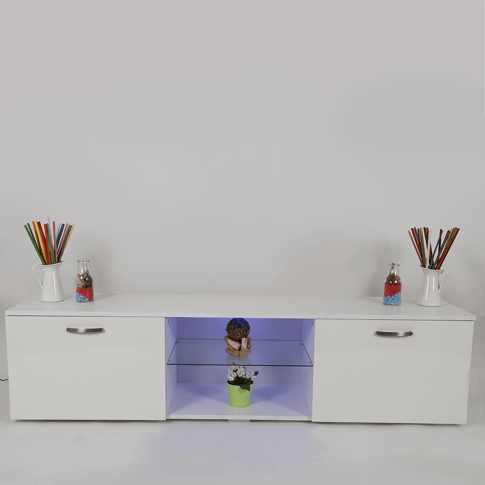 تجارة بلا حدود طاولة تلفاز نيت هوم لون أبيض جذاب بإضاءة داخلية