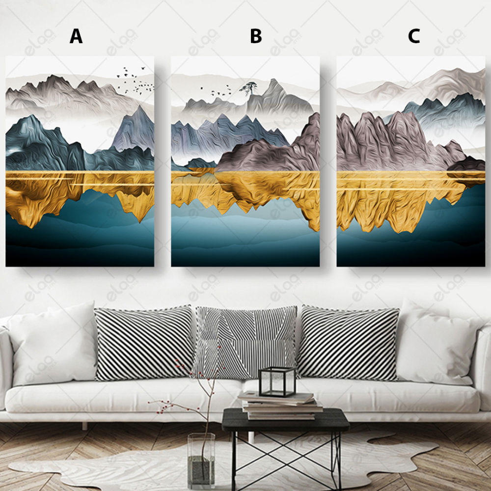 لوحات فن تجريدي لمياه البحر محاطة بالجبال بالالوان الذهبي والابيض والر