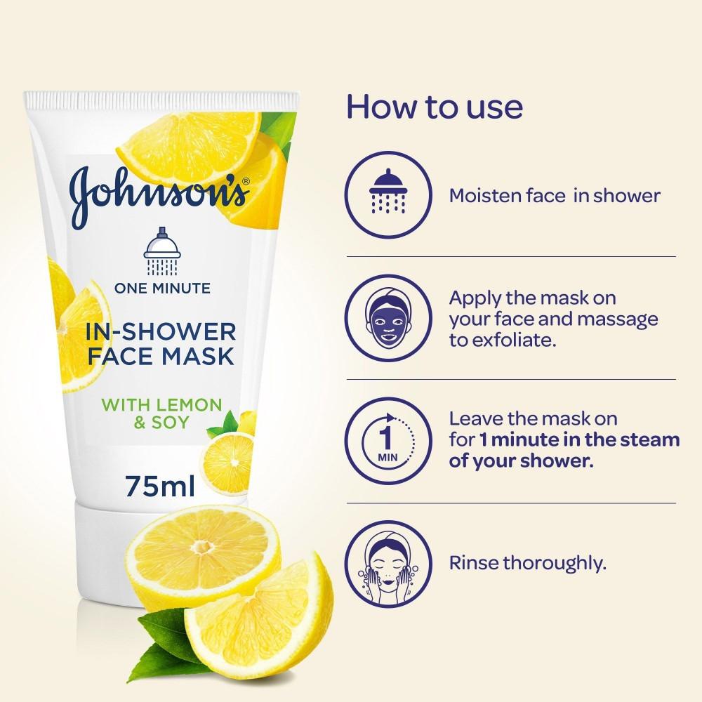 قناع للوجه أثناء الإستحمام مع بخلاصة الليمون و الصويا من جونسون - 75 م