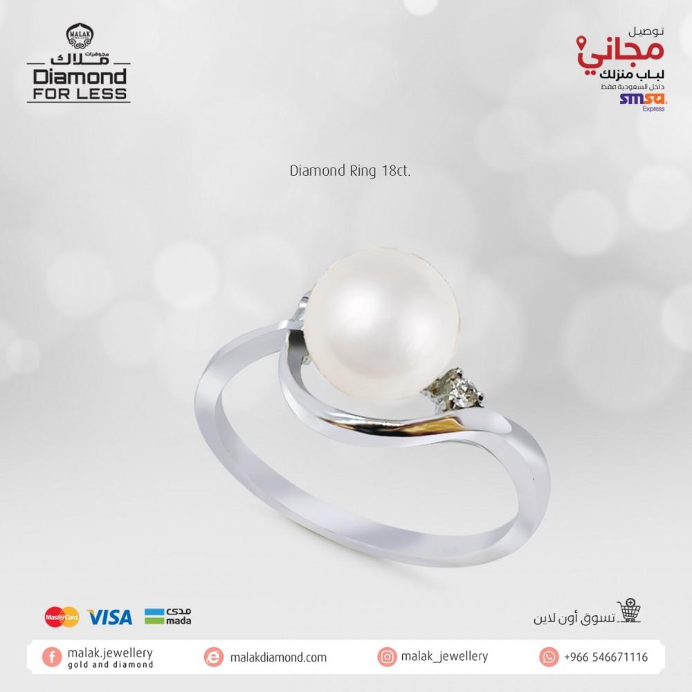 خاتم الماس مع لولو طبيعي شكل انيق