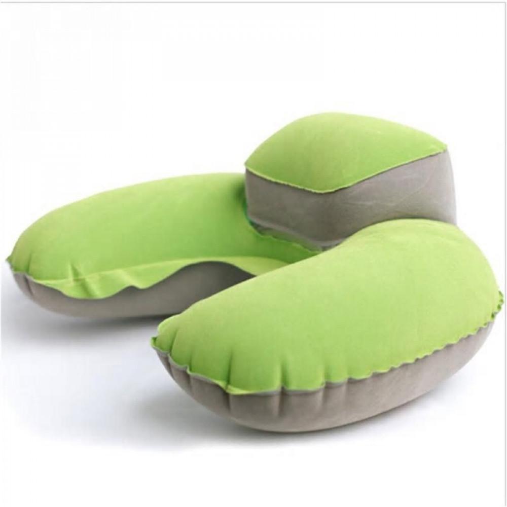 وسادة رقبة على شكل U محمولة مريحة للسفر مصنوعة من مادة PVC لون اخضر