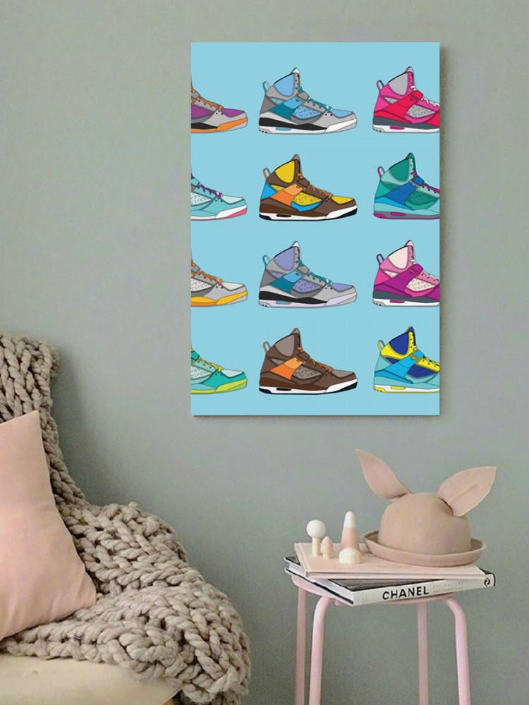 لوحة أحذية رياضية ألوان زاهية خشب ام دي اف مقاس 40x60 سنتيمتر