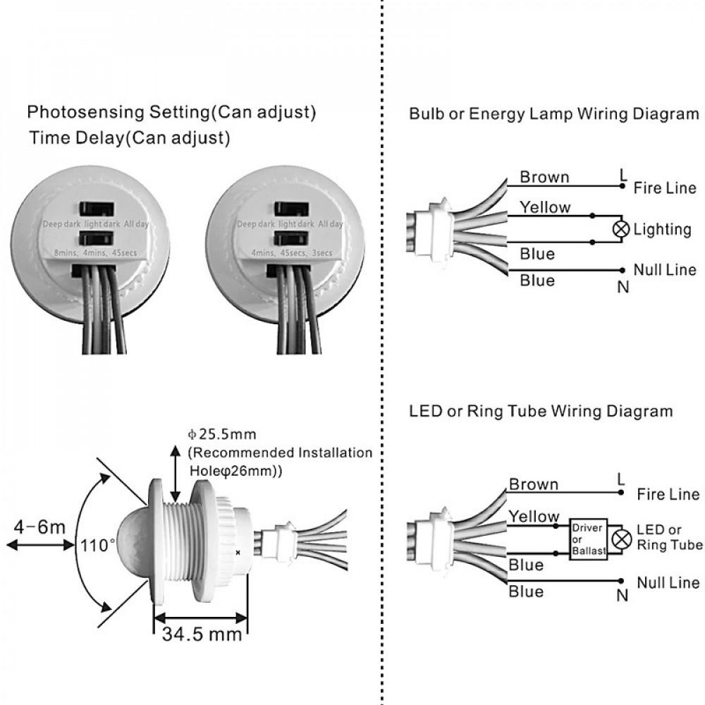 حساس كهربائي ذكي موفر للطاقة يعمل بالحركة مع مؤقت زمني قابل للتعديل