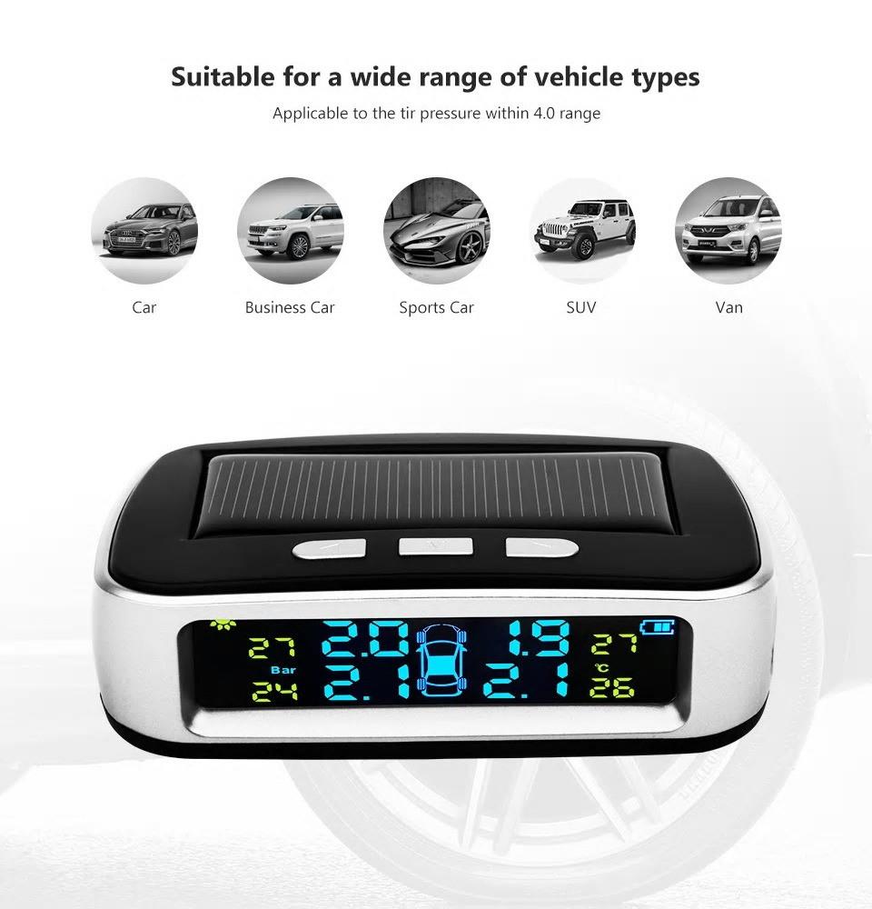 جهاز مراقبة ضغط وحرارة هواء إطارات السيارات يعمل بالطاقة الشمسية