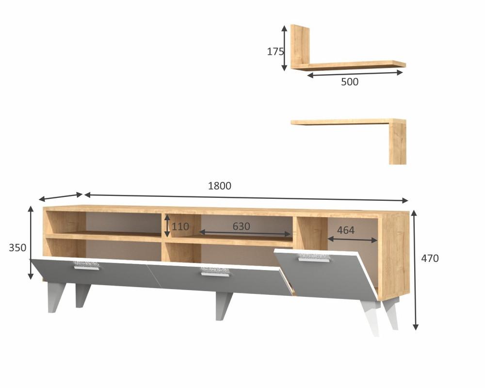 متجر مواسم طاولة تلفاز 3 قطع توضيح للقياسات التفصيلية للطاولة