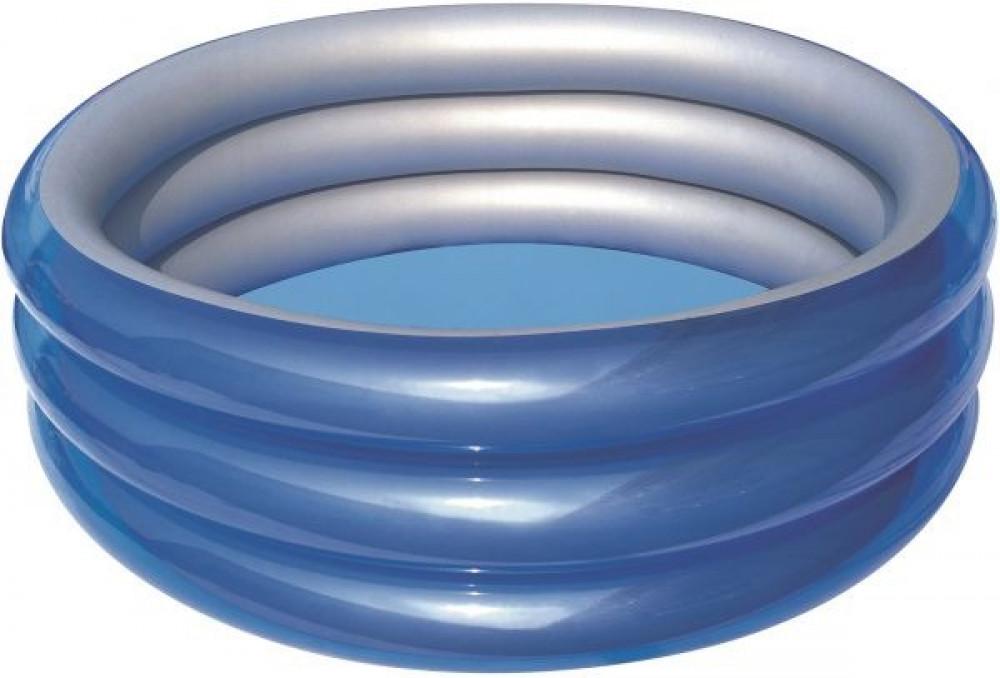 حوض سباحة قابل للنفخ بثلاث حلقات للاطفال من بيست واي 51043 - ازرق ميتا