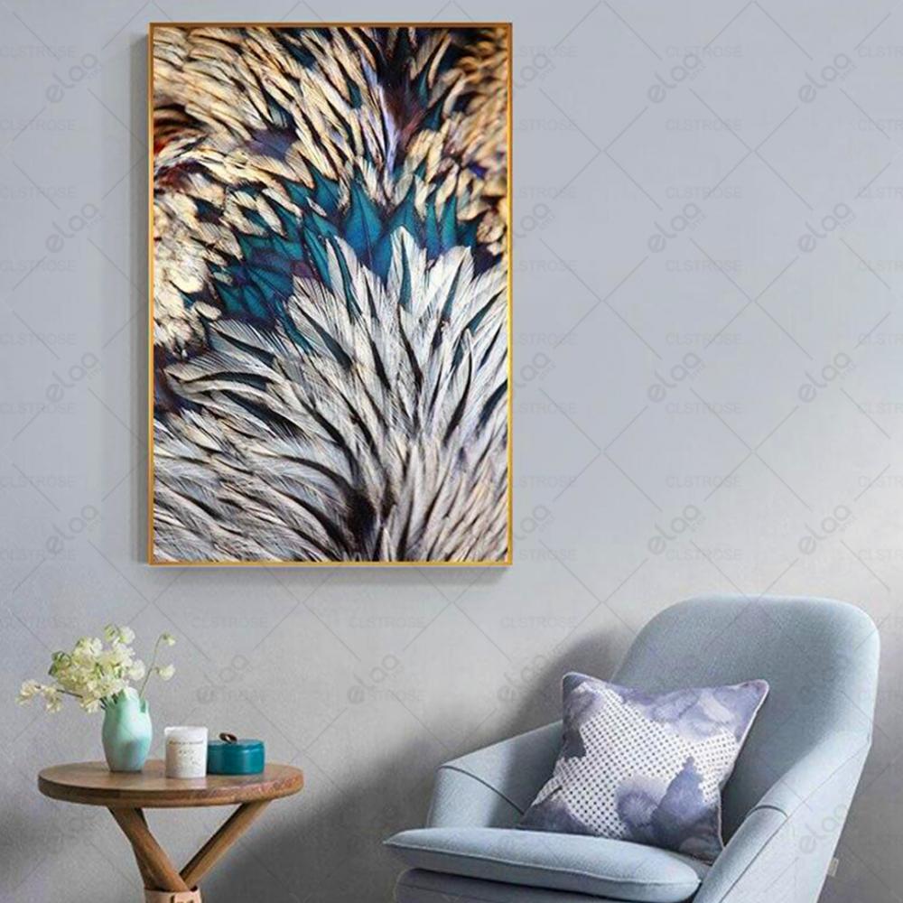 لوحة فنية لمنظر طبيعي لريش باللون الفيروزي والأبيض