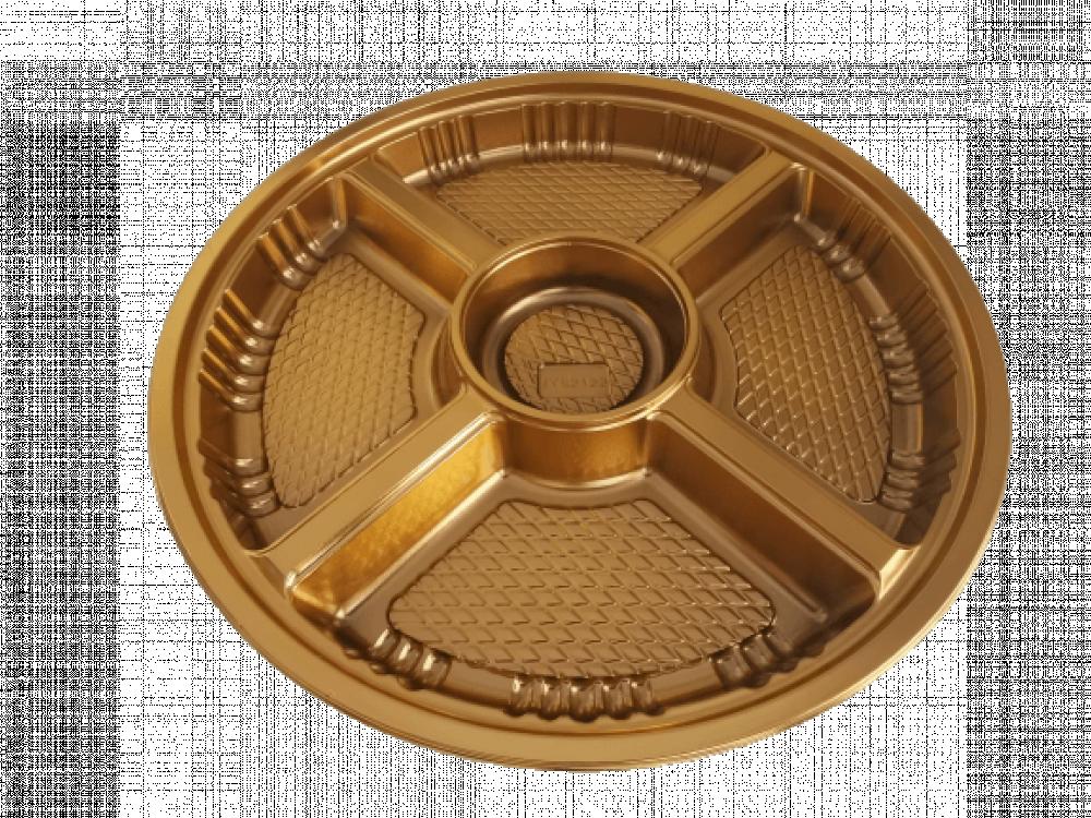 صحن بلاستيك مقسم خماسي ذهبي