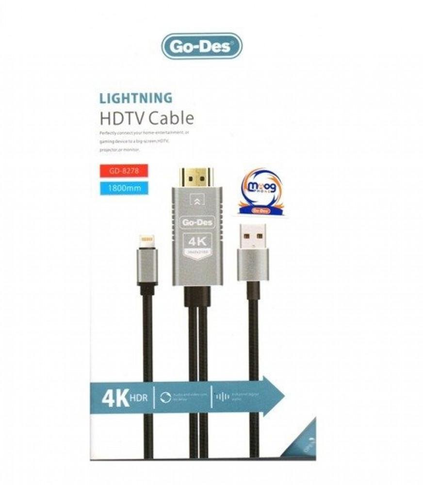 كيبل عرض المحتوى على التلفزيون ايفون Go-Des Lightning HDTV Cable GD-82