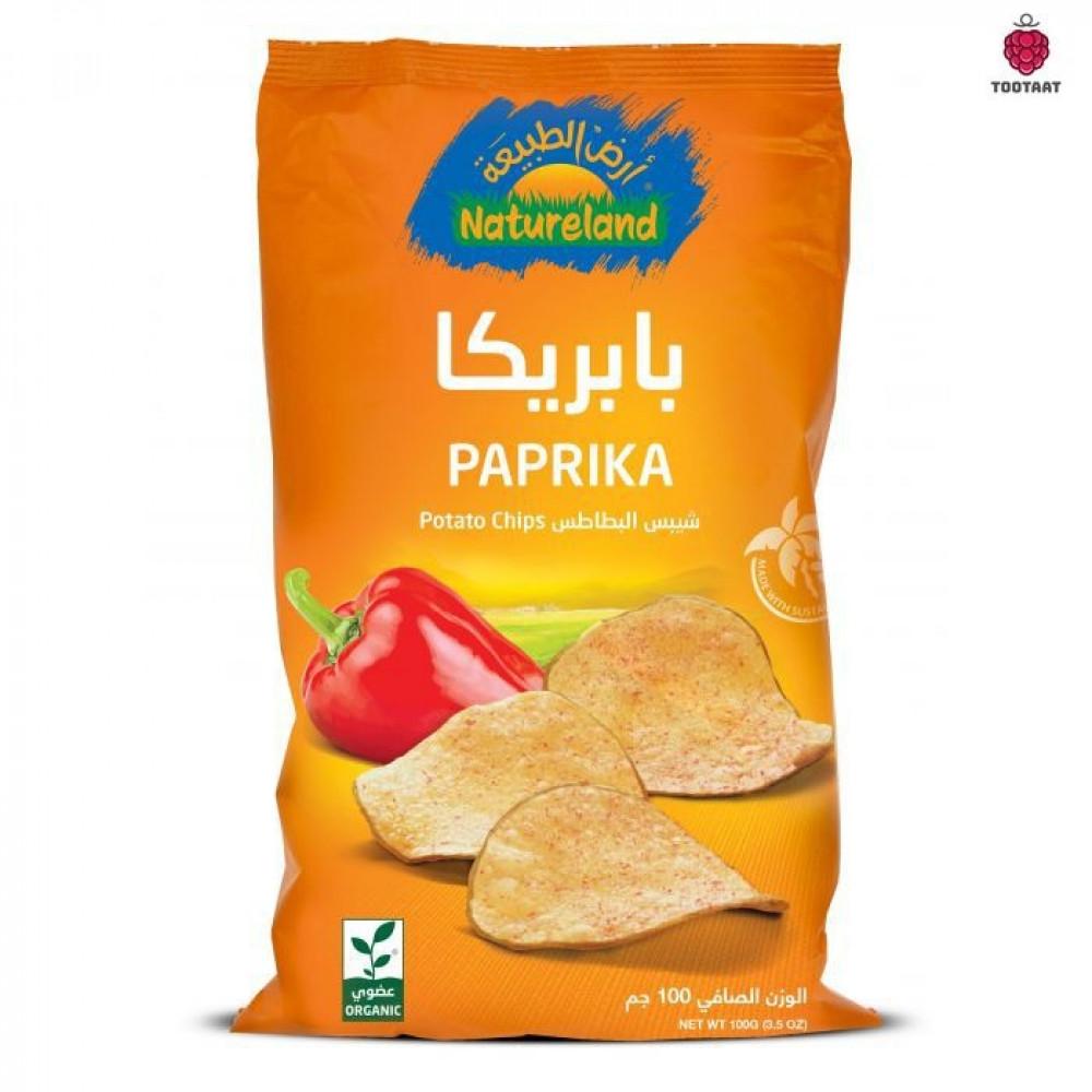 شيبس البطاطس-بابريكا Natureland Hot Chili Chips 100g Tootaat