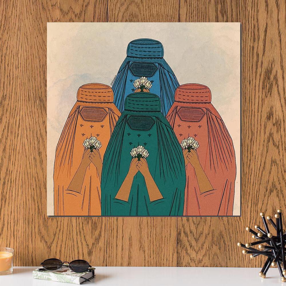 لوحة النساء الاربعة خشب ام دي اف مقاس 30x30 سنتيمتر