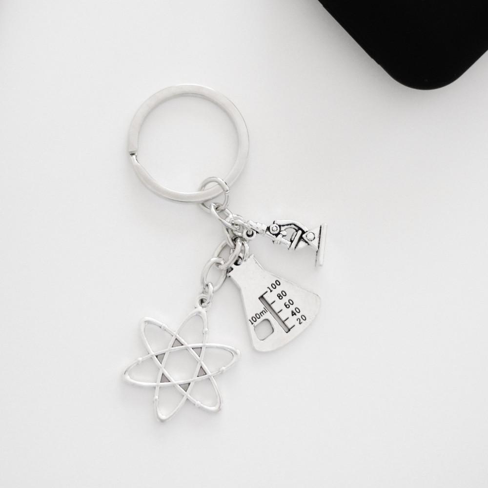 ميدالية مفاتيح مختبر كيمياء فيزياء احياء أفكار هدايا نسائية رجالية