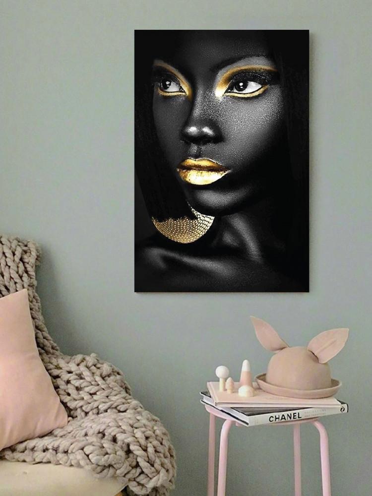 لوحة المرأة أسود و ذهبي خشب ام دي اف مقاس 40x60 سنتيمتر