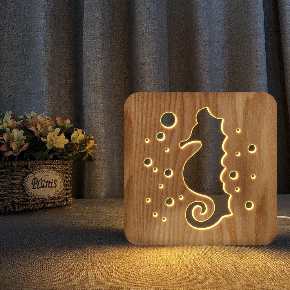 مواسم تحفة فنية على شكل حصان البحر  لون خشبي ثلاثية الأبعاد