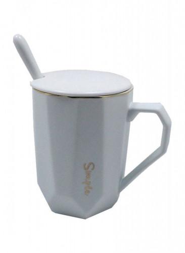 كوب سيراميك للقهوة و الشاي مع ملعقة  و غطاء أبيض 12x10x13 سنتيمتر